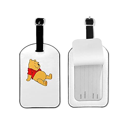 Wi-nnie The Po-oh Etiquetas de equipaje de microfibra de cuero personalizado maleta Tag Set etiquetas de identificación de equipaje Accesorios de viaje Microfibra PU Cuero 2.7 x 4.3 pulgadas