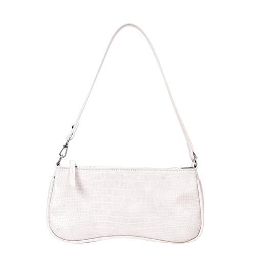 Vintage Krokodil Muster Schultertasche für Frauen, Retro PU Mode Taschen Damen Kleine Messenger Handtasche (weiß)
