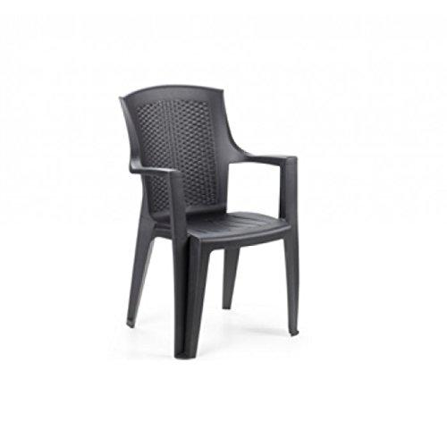 Sedia in resina similrattan antracite 60x62 cm H 89 cm EDEN