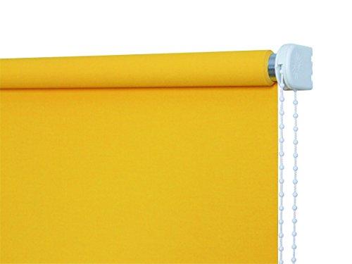 JalousieCrew Kettenzugrollo Classic Seitenzug Rollo Sonnen gelb - 60-220 cm Länge 180 cm und 230 cm Blickdicht Blickschutz Tür Fenster (100 x 180 cm)