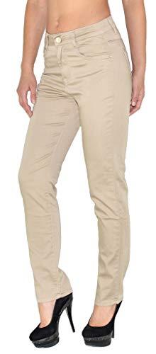 ESRA Damen Hose Straight Leg Hose High-Waist Regular Damen Stretch Stoffhose bis Übergröße T101