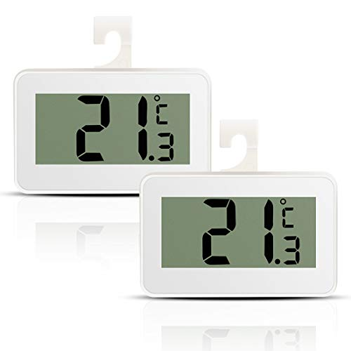 Fridge Refrigerator Thermometer, 2 Pack Digital Fridge Freezer Temperature Monitor with Hook & Large LCD Display for Indoor Outdoor