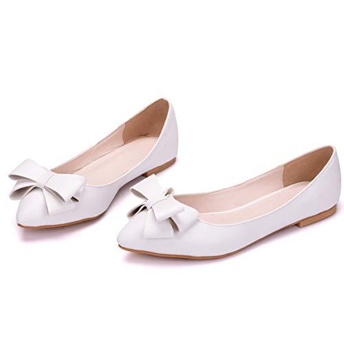 Zapatos de novia de mujer, Simplicidad elegante temperamento zapatillas de ballet puntiagudas,...
