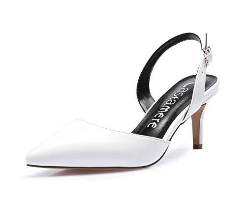 CASTAMERE Scarpe con Tacco Donna Sexy Eleganti Cinturino Regolabile Scarpe Tacco Gattino 6CM Medio Tacco PU Bianco Scarpe EU 38