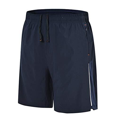 donhobo Pantalones cortos de deporte para hombre, ligeros, de secado rápido, pantalones cortos para fitness, correr y entrenamiento, con bolsillo con cremallera, azul marino, S