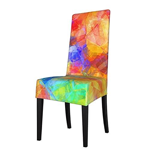 Funda elástica para silla de comedor, diseño de polígono, color azul, naranja, morado, verde lima y verde lima, para decoración de sillón, para el hogar, hotel, ceremonia de banquetes