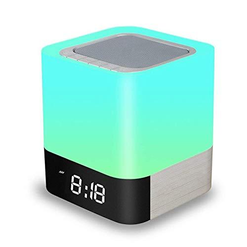 Amouhome Nachttisch Lampe, 5 in 1 LED Schreibtischlampe mit Bluetooth Lautsprecher 12/24H Digital Kalender Wecker 48 Farben & 4000mAh Batterie Unterstützt TF/SD-Karte Geschenk für Kinder/Freunde