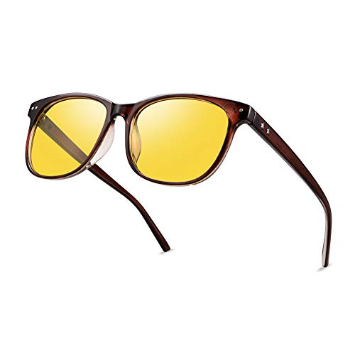 Night Vision Driving Glasses Polarized Anti-glare Clear Sun Glasses Men & Women Fashion(Tan)