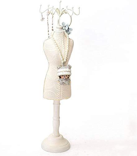 KEEBON Tenedor de joyería de encaje de la vendimia de moda única y elegante de maniquí de maniquí de la pulsera de almacenamiento de almacenamiento colgando accesorio torre estante para mujeres (tamañ