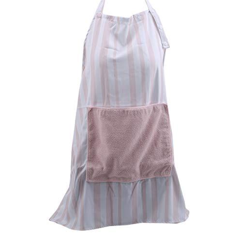 QIWei - Delantales de cocina a rayas con cinturón ajustable y bolsillos, color rosa
