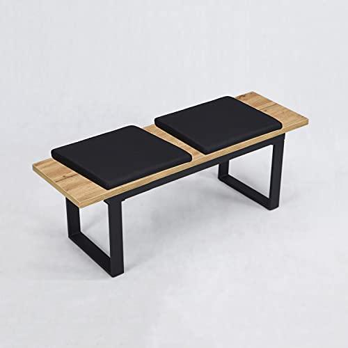 Sitzbank Esszimmer mit Sitzauflagen, gepolsterte Esszimmerbank, Holzbank für Esszimmer in Massivholz Optik, Polsterbank mit Stahlgestell schwarz, 120 x 40 cm, B&D home 11301-120
