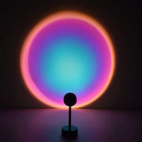 Outskirts Proyector de luz de la lámpara de puesta del sol para el dormitorio, proyector de puesta del sol, lámpara de proyector de arco iris, luz romántica USB para tienda de fiestas (color: A)