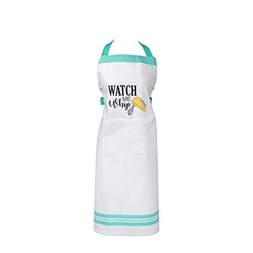 DII CAMZ11104 100% Cotton, Unisex Chef Kitchen Apron, Adjustable Neck & Waist Ties, Machine Washable, Front Pocket, Perfect for Cooking, Baking, BBQ, 28x35, Watch Me Whip