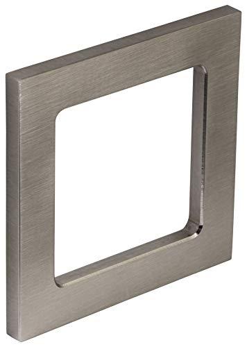 Möbelgriff Edelstahl Glastürgriff zum Kleben Muschelgriff eckig Griffmuschel für Glastüren | 75 x 75 x 6 mm | Türgriff zum Aufkleben | 1 Stück - Klebegriff für Schränke - Schiebetüren & Zimmertüren
