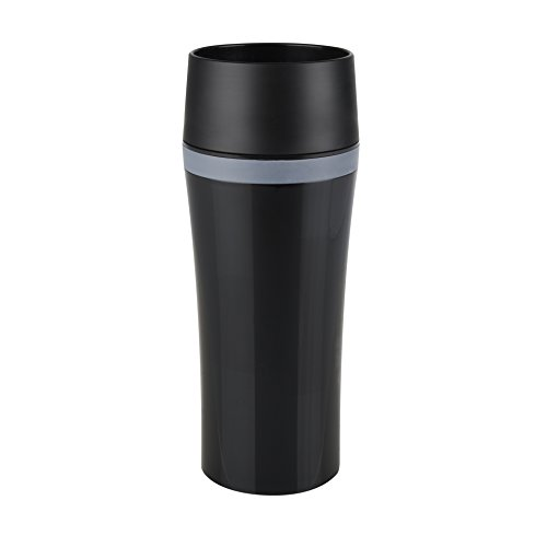 Emsa 514179 Isolierbecher, Mobil genießen, 360 ml, Quick Press Verschluss, Schwarz/Anthrazit, Travel Mug Fun