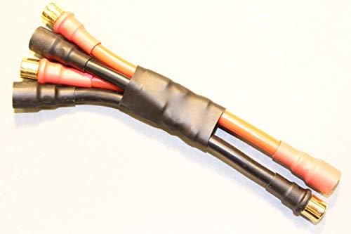 first-us Contactos Chapados en Oro Adaptador 8mm Goldstecker-Goldbuchse De 2X 8mm Goldbuchse-Goldstecker Paralelo-Circuito 10AWG Cable Cargador Extensión Enchufe Conector Sistema Conexión Nuevo