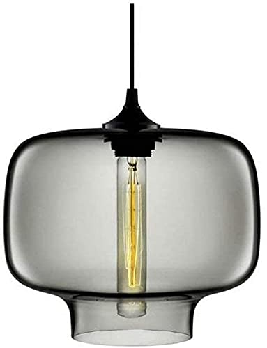 Iluminación colgante moderna lámpara colgante industrial con pantalla de vidrio altura de suspensión ajustable para decoración de sala de estar cocina bar (gris)
