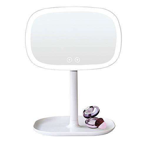Espejo de maquillaje con espejo de maquillaje iluminado para mostrador con espejo de la vanidad de escritorio del espejo de vanidad de escritorio giratorio de 360 grados con lupa de 10 x recarga.