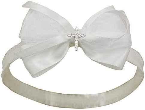 White Baby Bow Headband for Baptism Christening Satin Lace Hair Band with Cross for Toddler product image