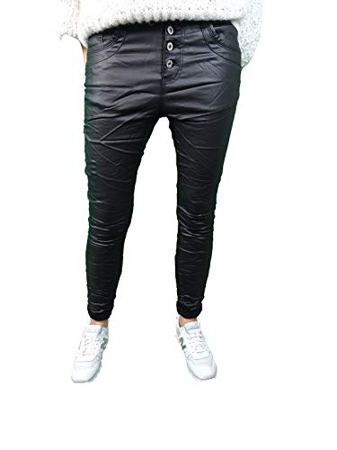 Jewelly Damen Stretch Fake Leather Kunstleder Hose Boyfriend Cut mit offener Knopfleiste schwarz M