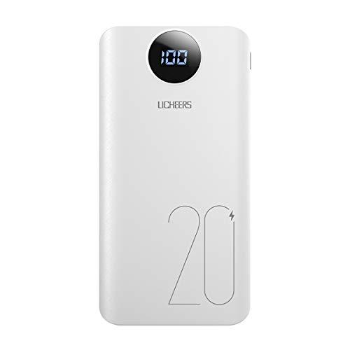 Licheers 20000mAh Externer Akku, hohe Kapazität Powerbank mit 2 USB Ausgängen & LCD Anzeige für iPhone, iPad, Samsung Galaxy & viele mehr (Weiß)
