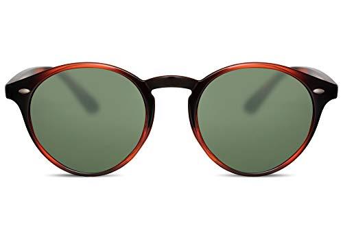 Cheapass Gafas de Sol Redondas Unisex Marrones Efecto Cristales Verdes 100% Protección UV400