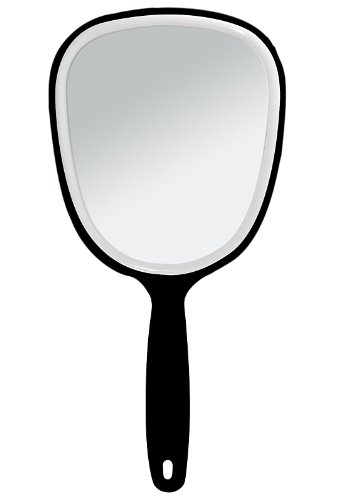 Handspiegel mit ovaler Form Kosmetex Kosmetik-Spiegel, normal 1-fach, Schwarz