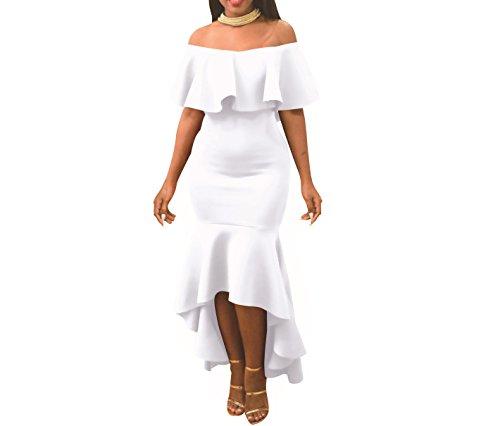 Women's Sexy Off Shoulder Ruffle Stretchy Party Mermaid Elegant Midi Long Maxi Dress