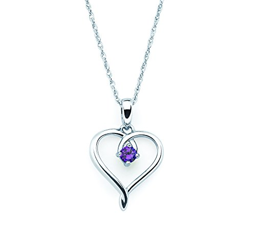 925 Sterling Silver Genuine Amethyst February Birthstone Heart Pendant Necklace with 18' Chain