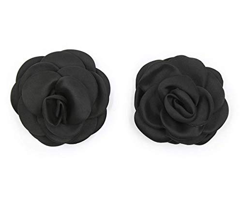Pasties - Pegatinas para Cubierta de pezones con Flores, Almohadilla para el Pecho para Mujeres - Negro