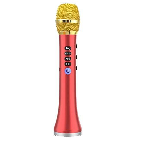 Microfono Inalambrico Bluetooth Altavoz Inalámbrico Portátil Del Micrófono Del Karaoke De 20w Bluetooth Con El Poder Grande Para Cantar/Reunión rojo