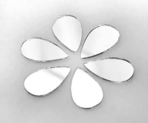 25pcs Silber Teardrop Glas-Spiegel Aufkleben Auf Cabochon Dekoration, Hand-Stickerei Goldwork Luneville Tambour Indische Shisha Boho 25mm x 12mm