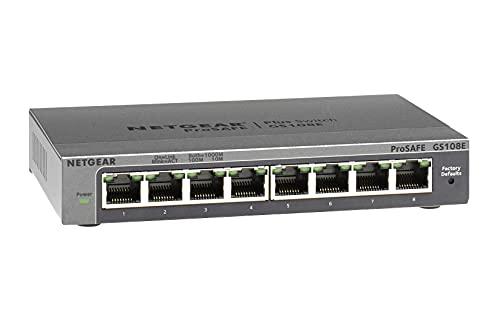NETGEAR GS108E Switch 8 Port Gigabit Ethernet LAN Switch Plus (Managed Netzwerk Switch mit IGMP, QoS, VLAN, lüfterloses Metallgehäuse, ProSAFE Lifetime-Garantie)