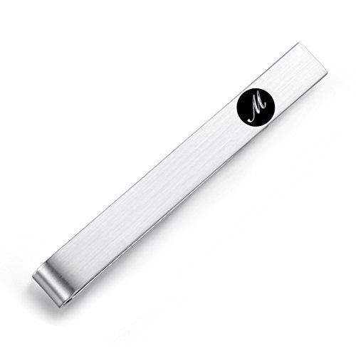HONEY BEAR 5.4cm Herren Briefe Initialen Krawattennadel Krawattenklammer für Normale Krawatte Edelstahl Tie Clip,Silber mit Schwarzem Buchstaben (M)