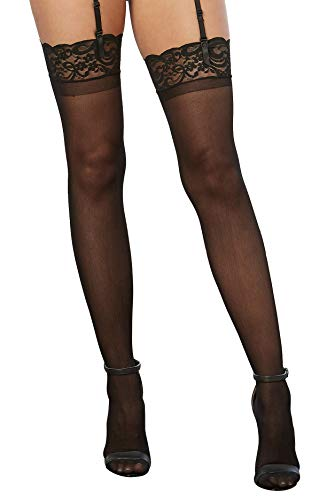 Dreamgirl Women's Sheer Thigh High Stockings with Lace Top, Black, One Size
