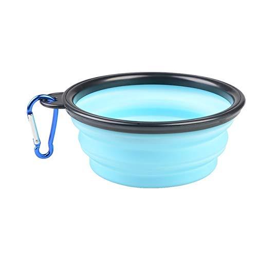 Silicone Pieghevole Copia Pieghevole Ciotola di Caramelle Colore all\'aperto Viaggio Portatile Cucciolo Cibo Contenitore Acqua Alimentatore Piatto Alimentazione Ciotola (Color : Light Blue)