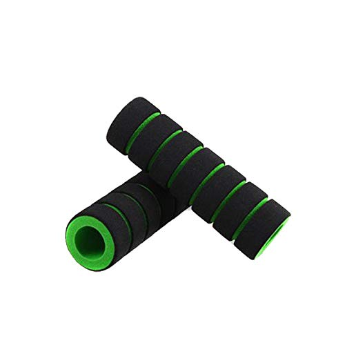 LengedHope Motorcycle Bike Cycle Bicycle Foam Sponge Handlebar Grip Cover Green Black 2 Pcs
