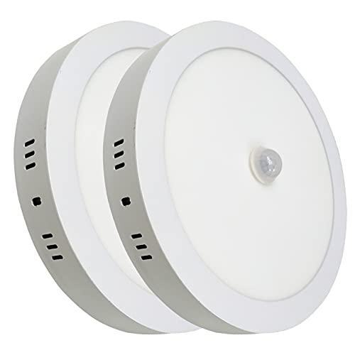 Pack 2x Plafon LED Redondo Superficie de 18 W, con sensor de movimiento y luminico. (Enciende solo de noche). Color Blanco Frio (6500K).