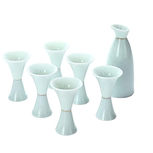 Jade Celadon Glaze Wineware Cerámica Hip Frasco Hogar simple Hip Frasco Vidrio de vino 1x botella de vino 6x taza