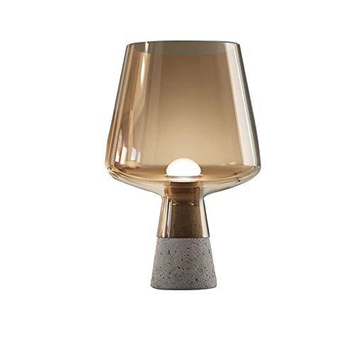 M I A Lámpara de mesa creativa de cemento, pantalla de cristal, pequeña mesita de noche, para sala de estar, oficina, sala de estudio (tamaño: A)