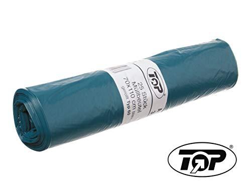 DeinPack 10 Rollen x 25 Stück (250 Stück) Müllsack, Müllbeutel blau, Mülltüten blau, 120l T60 blau