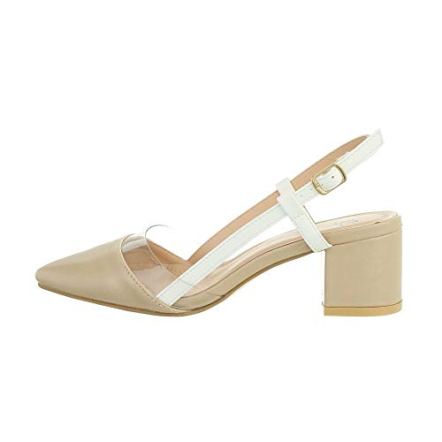 Ital Design Damenschuhe Pumps High-Heel Sandaletten, F250-, Kunstleder, Beige, Gr. 40