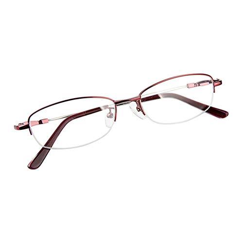 Fuyingda Wein Rot Memory Metall Hälfte Rahmen Kurzsichtigkeit Brille, Frau Anti-Strahlung Kurzsichtige Brillen Kurzsichtig Goggles Spectacles Eyewear -3.50 Stärke