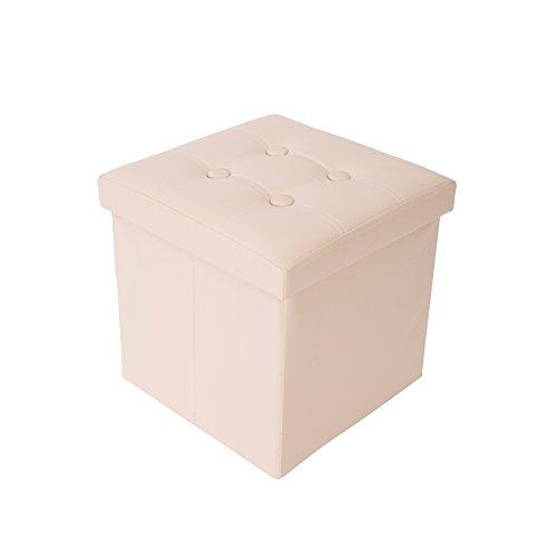 Mobili Rebecca Pouf Puff Contenitore Quadrato Seduta Apribile Beige Finta Pelle 38 x 38 x 38 cm (Cod. RE4917)