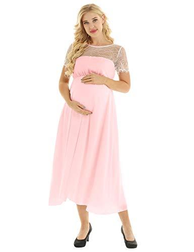 Freebily Vestido de Lactancia para Mujer Embarazada Ropa Camisón de Gasa Encaje...