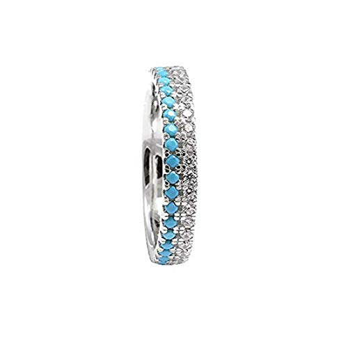Blue Apple Co. 3.5mm Eternity Stackable Band Ring Double Round Simulated Turquoise & Cubic Zirconia 925 Sterling Silver, Size - 6