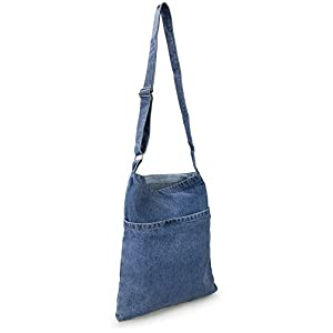 Portable Travel Two Pocket Soft Denim Cross Body Women's Shoulder Bag Pouch