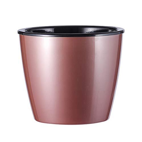 AchidistviQ Macetero de riego automático, redondo de plástico, moderno, para jardín, bonsái, maceta decorativa para interiores y exteriores, color oro rosa