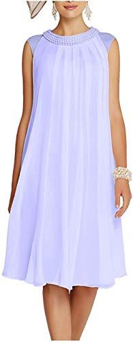 CGown Chiffon Perlenkragen Brautmutter Kleid mit Jacke Knielang Formell Party Abendkleid Gr. 42, lavendel