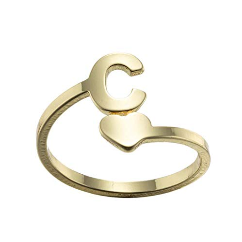 Fashion 26 English Letter Opening Rings for Girls Women, Dainty Stainless Steel Love Retro Jewelry Valentines Day, Mother's Day, Anniversary, Birthday Gifts (C)